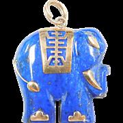 Vintage 14k Gold Carved Lapis Lazuli Stone Elephant Pendant