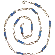 "Vintage 14k Gold Lapis Lazuli Station Necklace ~ 25"""
