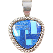 Sterling Silver Lapis and Turquoise Inlay Pendant