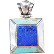 Sterling Silver Lapis, Turquoise and Mother of Pearl Pendant
