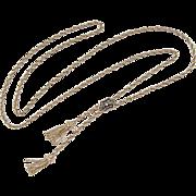 Victorian Revival 14k Gold Adjustable Lariat Necklace ~ Enamel, Emerald and Diamond