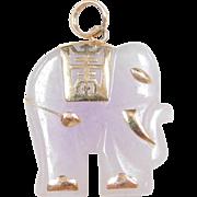 Vintage 14k Gold Carved Lavender Jade Stone Elephant Pendant