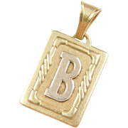 Vintage 14k Gold Two-Tone Letter B Frame Pendant / Charm
