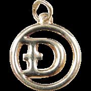 Vintage 14k Gold Letter D Charm