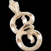 Vintage 14k Gold Letter E Charm