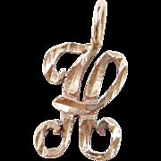 Vintage 14k Gold Letter H Charm