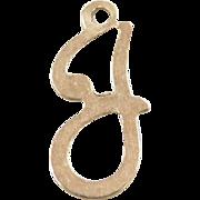 Vintage 14k Gold Letter J Charm