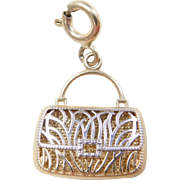 Vintage 14k Gold Two-Tone Letter J Purse Charm
