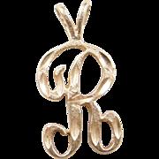 Vintage 14k Gold Letter R Charm