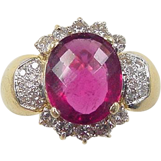 Vintage 18k Gold LeVian 3.80 ctw Pink Tourmaline and Diamond Ring