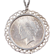 Vintage Sterling Silver 1925 Liberty Coin Pendant ~ Peace Dollar