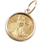 Vintage 14k & 24k Gold Liberty Coin Copy Charm 1908 United States of America Twenty Dollars