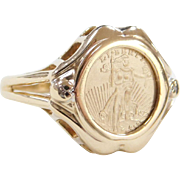 Vintage 14k Gold Liberty Coin Copy Ring with Diamond Accents
