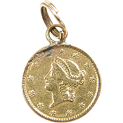 Vintage 14k & 22k Gold 1849 $1 Liberty Coin Charm