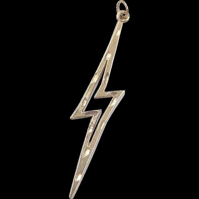 Vintage 14k gold lightning bolt charm pendant from vintage 14k gold lightning bolt charm pendant mozeypictures Choice Image