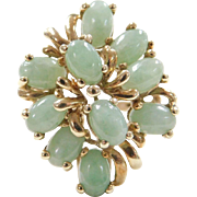 Vintage 14k Gold Light Green Jade Ring
