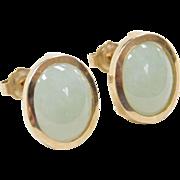 Vintage 14k Gold Jade Stud Earrings