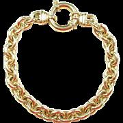 """European 9k Gold Link Bracelet  7 5/8"""""""