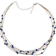 "Native American Vintage Sterling Silver Lapis Lazuli Bead Liquid Silver Necklace ~ 16"" - 20"""