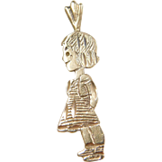 Vintage 14k Gold Young Girl Charm