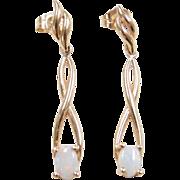 Vintage 14k Gold Long Opal Earrings