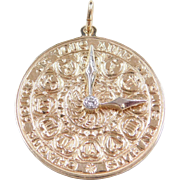 "Romantic 14k Gold French Love Clock Disk Charm ~ Two-Tone Diamond Accent ~  ""Every Hour I Love You More And More"""