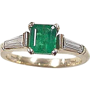 Vintage 14k Gold 1.46 ctw Natural Emerald and Diamond Ring
