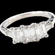 Platinum 1.61 ctw Diamond Past, Present and Future Ring