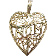 Vintage 14k Gold MOM Heart Charm