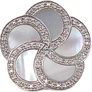 Sterling Silver Mother of Pearl and Diamond Flower Slide Pendant
