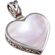 Reversible Sterling Silver Mother of Pearl Heart Pendant