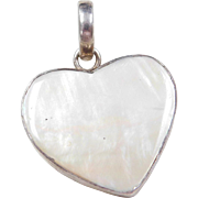 Sterling Silver Mother of Pearl Heart Pendant