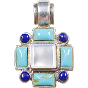 Sterling Silver Mother of Pearl, Turquoise and Lapis Cross Pendant