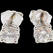 Stunning 1.00 CTW Diamond Stud Earrings 14k White Gold
