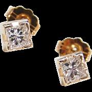 Vintage 14k Gold .40 ctw Princess Cut Diamond Stud Earrings