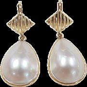 Vintage 14k Gold Mabe Pearl Dangle Earrings