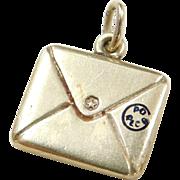 Vintage 14k Gold Mail Letter Charm with Enamel