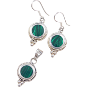 Sterling Silver Malachite Earrings and Pendant Set