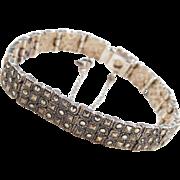 "Sterling Silver Marcasite Bracelet ~ 6 3/4"""