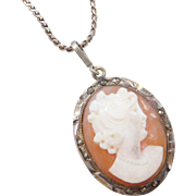 Sterling Silver Marcasite Cameo Necklace 20""