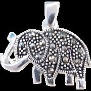 Sterling Silver Marcasite Elephant Charm / Pendant