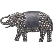 Vintage Sterling Silver Elephant Pin / Brooch ~ Marcasite