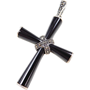 Sterling Silver Onyx and Marcasite Cross Pendant