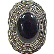 Art Deco Sterling Silver Marcasite and Onyx Ring