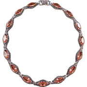 Sterling Silver Marcasite and Peach CZ Necklace