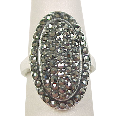 Vintage Sterling Silver Marcasite Shield Ring From