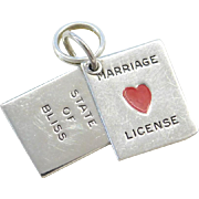 Sterling Silver Marriage License Charm ~ State of Bliss ~ Red Enamel Heart