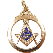 Vintage 10k Gold Blue Enamel Masonic Charm