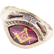 Vintage 10k Gold Gents Masonic Ring ~ Created Ruby