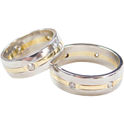 Matching Diamond Wedding Bands ~ Platinum and 18k Gold